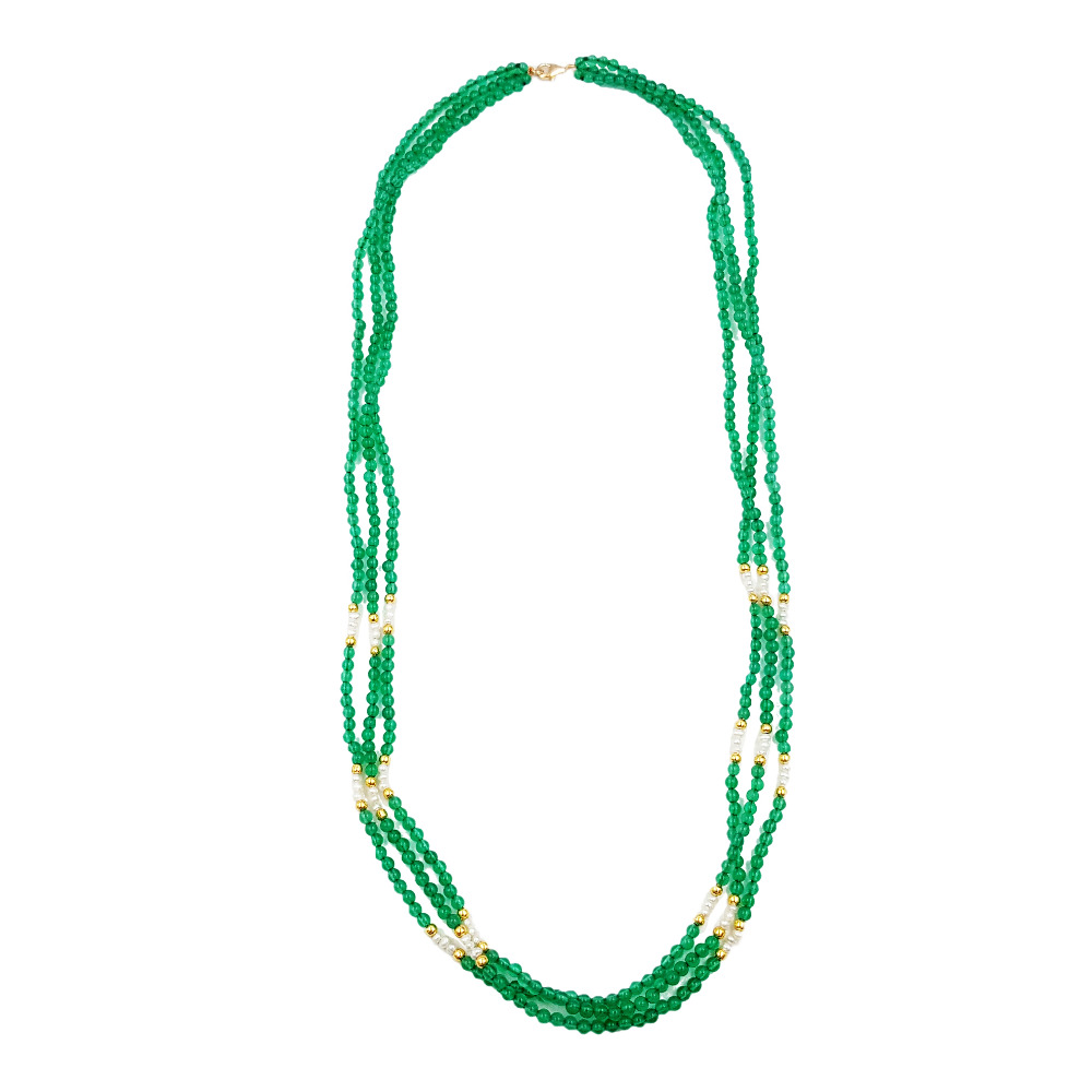 Lii Ji Green Agate Natural Stone Nearround Freshwater Pearl 925 Sterling Silver Gold Plate Clasp Long Fancy 3 Row Necklace 25.5