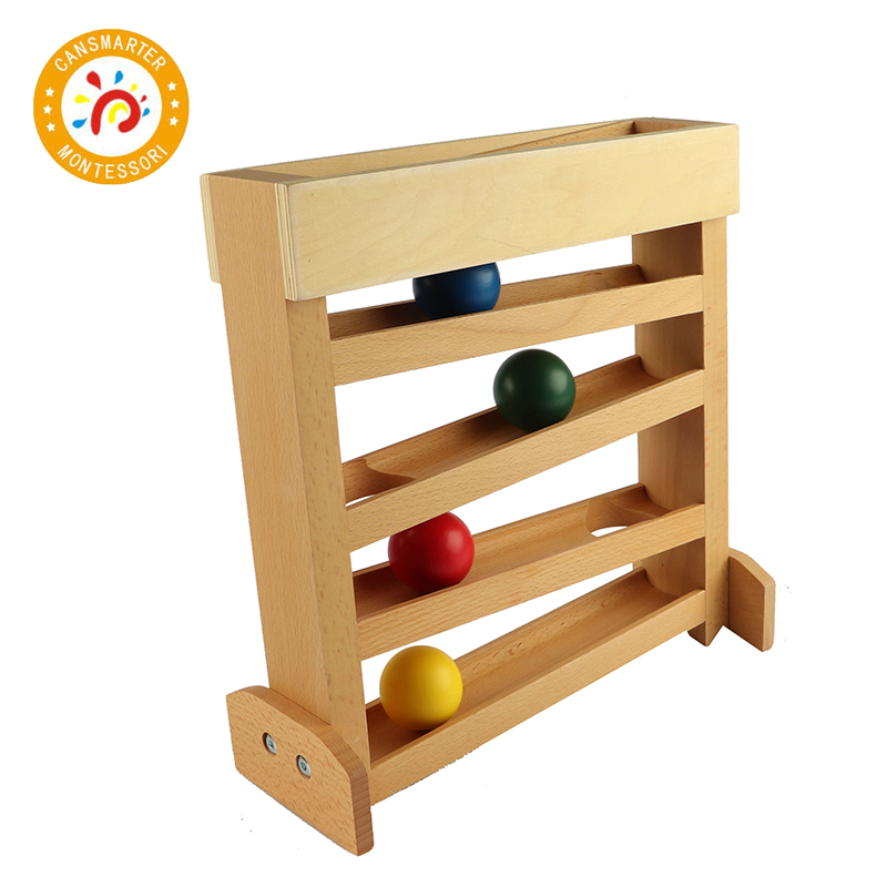 Montessori Kids Toy Colored Wooden Ball Visual Tracker Early Childhood Education Preschool