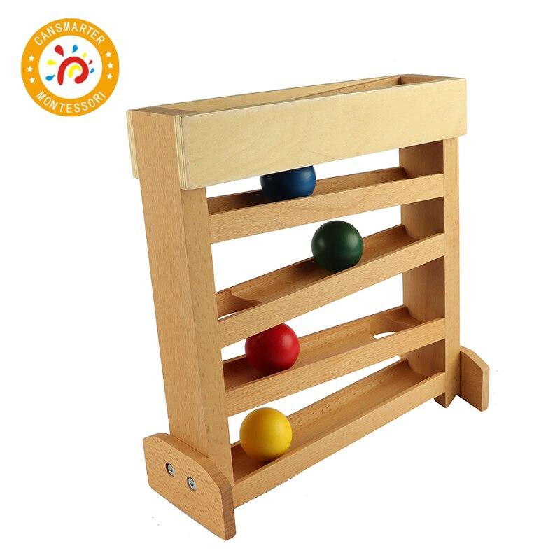 Montessori niños juguete de colores bola de madera rastreador Visual educación preescolar temprana