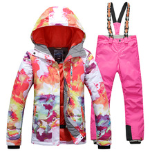 Gsou Snow 2017 Skiing Clothing Set New Waterproof Jacket Snow Ski Suit Set Womens Snowboard Jackets Mountain Ski Suit Women недорого