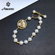 ANI 14K Roll Gold Handmade Women Bracelet Freshwater White Pearl oorbellen Roll Gold boucle d oreille Design Fine Jewelry ani 14k roll yellow gold pearl handmade bracelet natural pearl jewelry fashion vintage freshwater white pearl bracelet for women