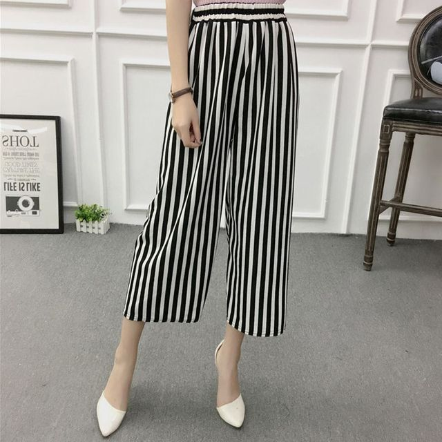 ETOSELL Women New Summer Wide Leg Pants Casual Loose High Elastic Waist Harem Pants Loose Belt Striped Elasticated Trousers 5