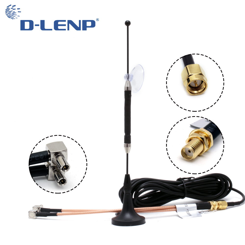 Dlenp 10dBi 4G Antenna RG174 With SMA Female To Y Type 2 X TS9 Male RG316 3M Cable Magnetic Base  696-960MHz / 1710-2690MHz