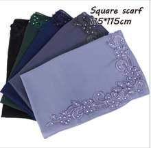 Малайзия пузырчатый шифоновый квадратный шарф однотонный мусульманский