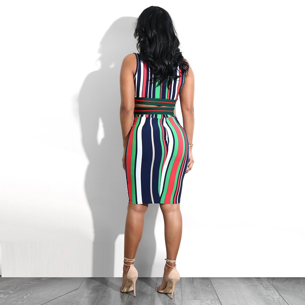 Women s Sparkly V Neck Halter Strap Backless Top Elastic Waist Wrap Bodycon  Bottoms Two Piece Striped Sexy Club Dress 2018-in Dresses from Women s  Clothing ... f297792442a8