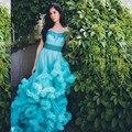 Роскошные свадебные Платья Плюс Размер Свадебное Платье Пушистые Облака Длинный Поезд Кристалл Свадебное Платье Цвет 2017 Тюль Vestido Де Noiva