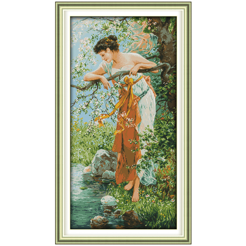 The Charm of Spring Dihitung Cross Stitch 11CT 14CT Cross Stitch Chinese Cross Stitch Kit untuk Embroidery Home Decor Needlework