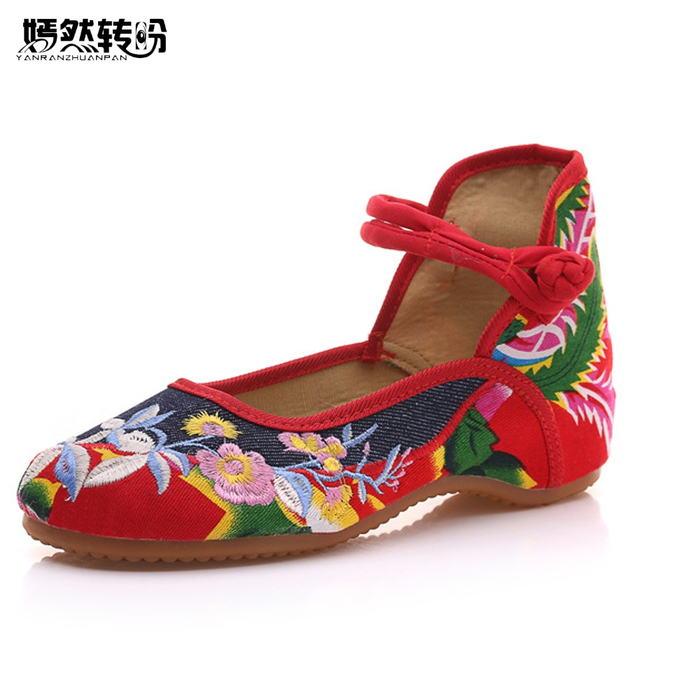 New Chinese Women Flats Old Beijing Cloth  Embroidery Shoes Retro National Floral Embroidered Dance Soft Canvas Shoes vintage women pumps flowers embroidered ankle buckles canvas platforms ladies soft casual old beijing shoes zapatos mujer