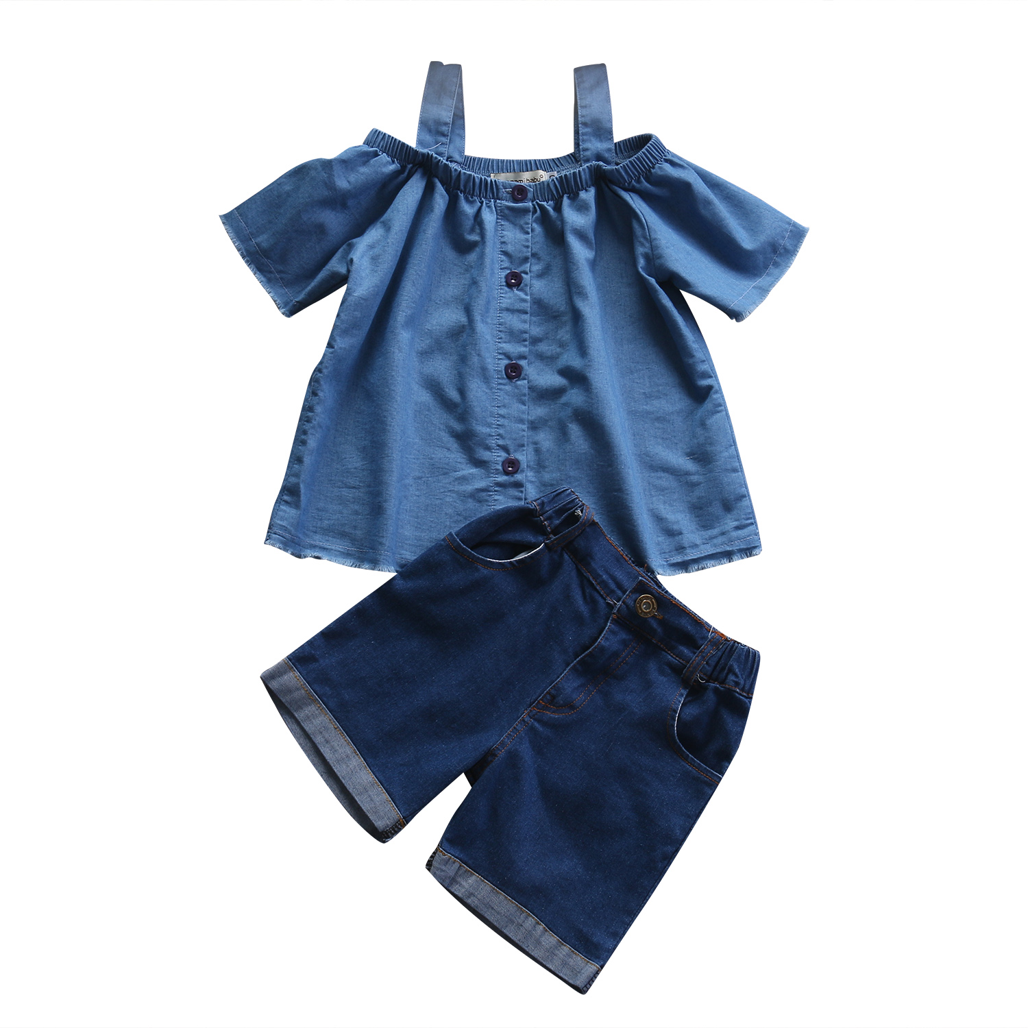 Denim Baby Girls Kids Summer Outfits Off Shoulder Blouse Tops + Denim Pants 2Pcs Clothing Set