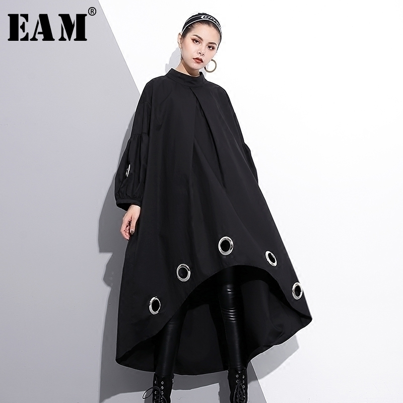 [EAM] 2018 new spring round neck long sleeve solid color black metal ring big size hollow out dress women fashion tide JE29201