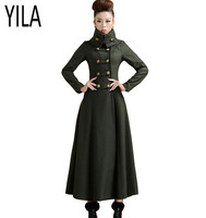 YI LA 2018 New Autumn winter women double breasted woolen overcoat ultra long coat slim elegant military wind outerwear s899