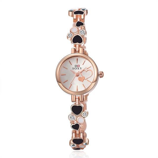 2018 New SOXY Luxury Brand Watch Women Fashion Gold Quartz Watch Full Steel Brac