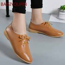 2019 Women Fashion Causal Flats Shoes Lady Student Solid Genuine Leather Footwear Female Loafers Cross-tied Flat Shoes Plus Size snurulan genuine leather flat shoes loafers female solid comfortable casual shoes plus size real leather handmade women flats
