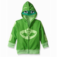 P J Boys T Shirts Pajama Hero Cosplay Costumes Green Top Hoodies Catboy Owlette Gekko Zipper