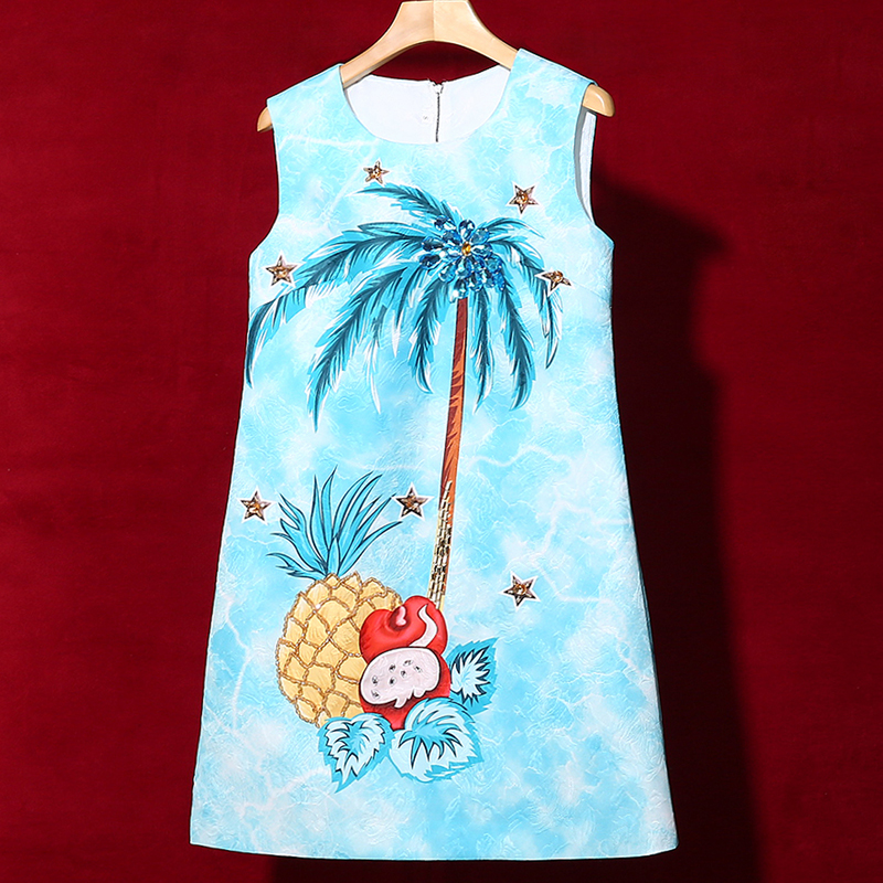 Red RoosaRosee 2019 Runway Summer Blue Mini Dress Women s Beads Fruit Tree Print Sleeveless Elegant
