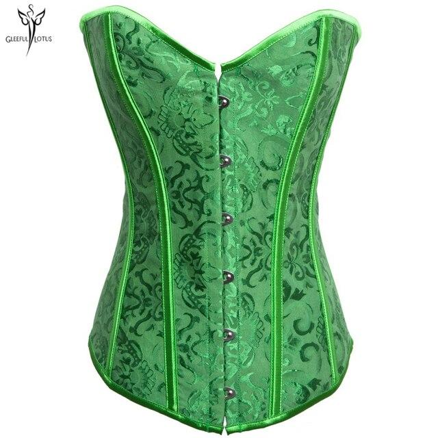 f8184b58d881a Green Corset Waist Trainer Satin Slimming Sheath women overbust corset  Modeling Strap Shapewear Body Shaper corset bustier