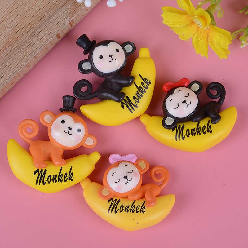 Yeni muz maymun heykelcik kek dekorasyon yosun süsleme minyatür figürleri reçine el sanatları karikatür hayvan heykeli dekor hediye oyuncak