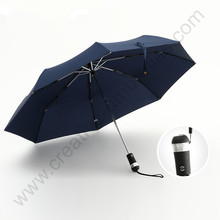 103cm auto open close steel windproof night walking torch business umbrella anti-thunder super light LED parasol