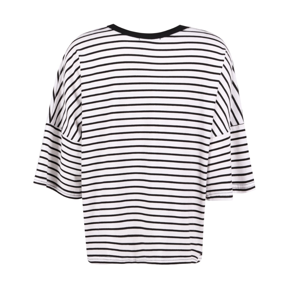 74f251436e8 White Black Striped Loose T Shirt