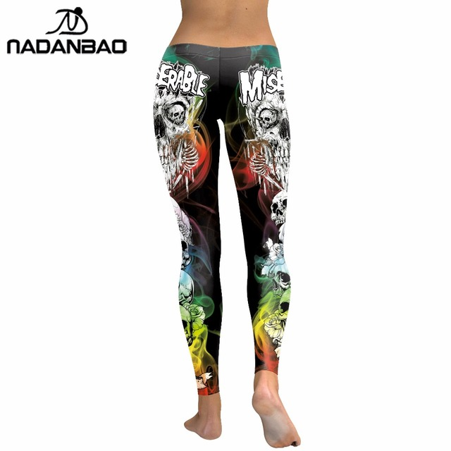 NADANBAO 2019 New Arrival Skull Head Women Leggings Letter Gradient Digital Print Pants Slim Fitness Workout Woman Leggins 3