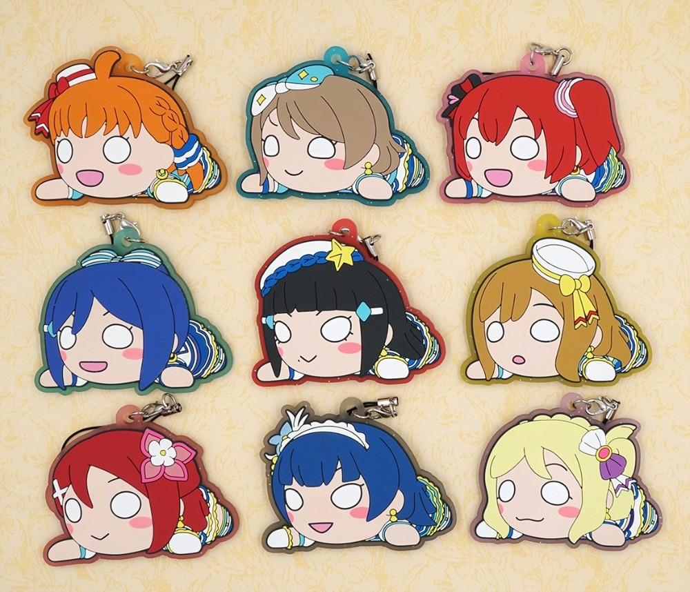 Love Live Sunshine Aqours Anime Chika You Yoshiko Ruby Dia Kanan Hanamaru Mari Riko Nesoberi BIG Rubber Keychain