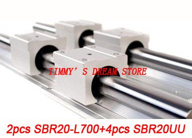 Free Shipping 2pcs SBR20-700mm Linear Bearing Rails + 4pcs SBR20UU Bearing Locks CNC X Y Z free shipping 2pcs sbr16 700mm linear bearing rails 4pcs sbr16uu bearing locks cnc x y z