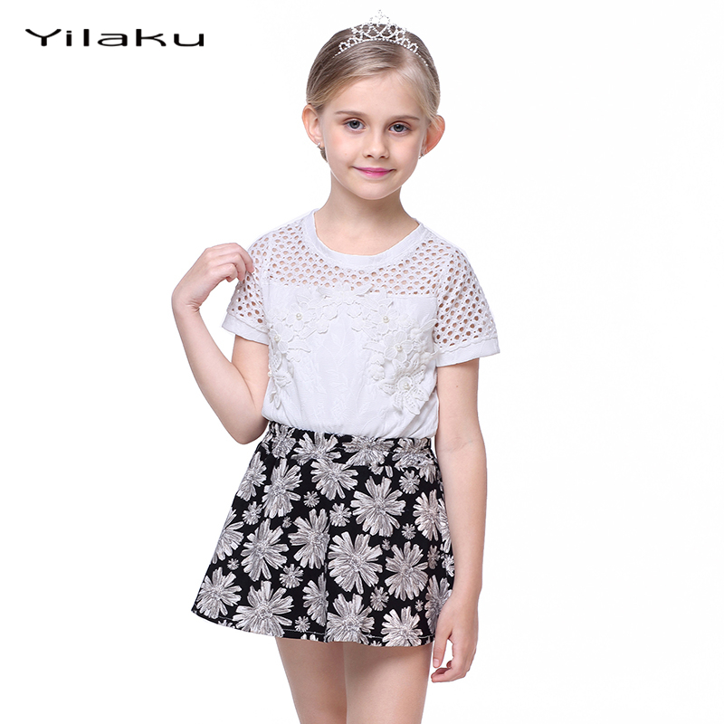 Summer Children Girls Skirt Set Floral Hollow Out Top + Dress Suit Girl Clothing Sets Kids Clothes Suits Children Outfits CF389