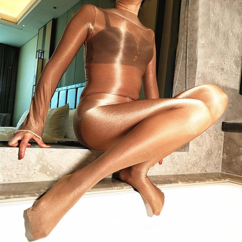 70D Women Sheer Bodystocking Body Shiny Pantyhose Sexy Open /close Crotch Girl High Elastic Tights Stocking Lingerie Bodysuit