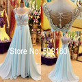 High Quality Crystal Beading Foor Length Custom Make Design Long Evening Dress Vestido De Festa TBE9359 Blue Evening Gown Dress