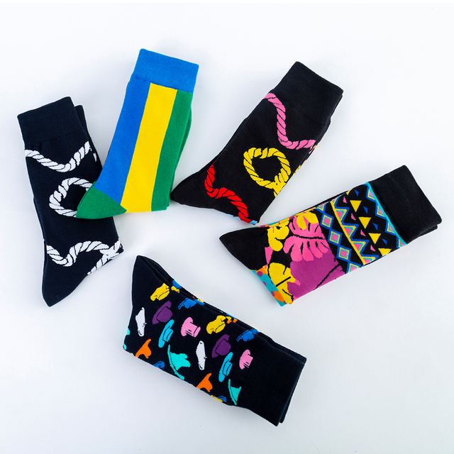 Hot Sale Casual Men's Crew Dress Skateboard Socks New Fashion Design Colorful happy Business Party Cotton Socks For Male 5