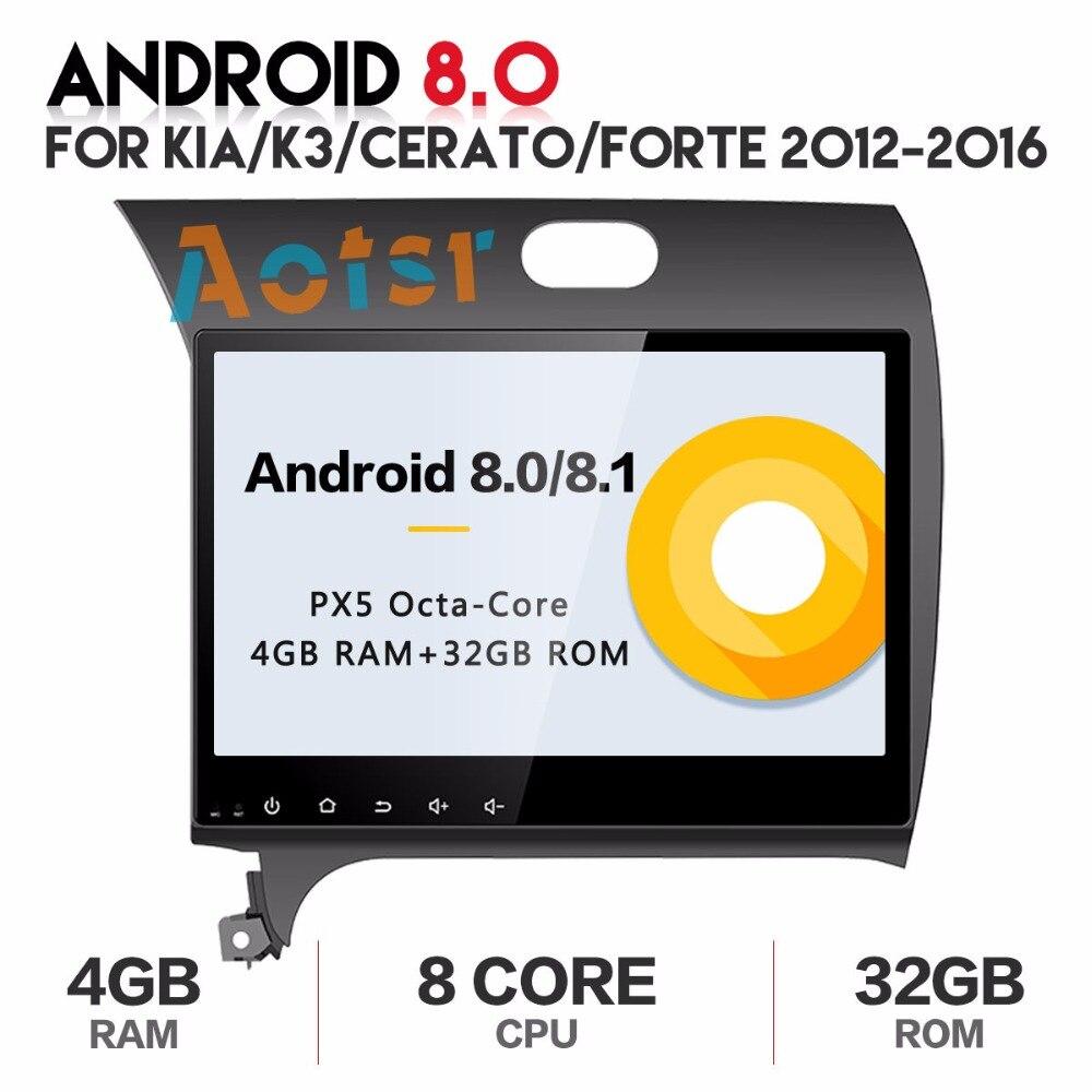 Android 8.1 2 DIN Car DVD GPS head unit for Kia CERATO K3 FORTE 2012 2013 2014 2015 2016 8 core radio video player wifi 1024*600