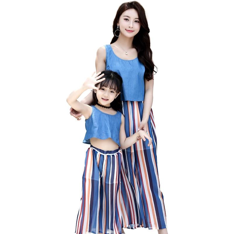 2018 summer new set of parent-child equipment Fashion cowboy vest wide leg pants two sets Stripe cool parenting equipment