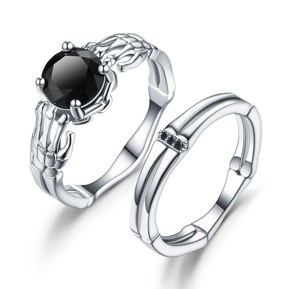 Vintage Skull red CZ Stone black Ring Set for Women Jewelry  Wedding Gift 1