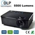 5500 Lumens Educação Negócio escritório Portátil 3D Projetor DLP Projektor Multimídia Projetor Projetor Full HD 1080 p zoom 1.1X