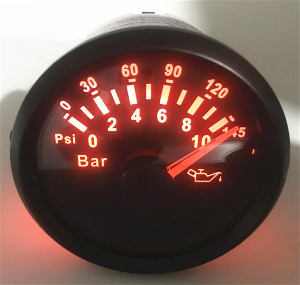 1pc Red Backlight Lcd Oil Pressure Gauges Modification 52mm 0-10Bar Waterproof Oil Pressure Meters 0-145Psi for Auto Truck Boat цена
