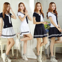 Japanese School Uniforms Anime COS Sailor Suit School Uniforms Sailor Uniforms Short Sleeved T shirt +Skirt Piece Fitted