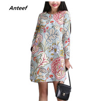 Fashion Spring Autumn Cotton Linen Vintage Print Plus Size Women Casual Loose Dress Party Vestidos Femininas