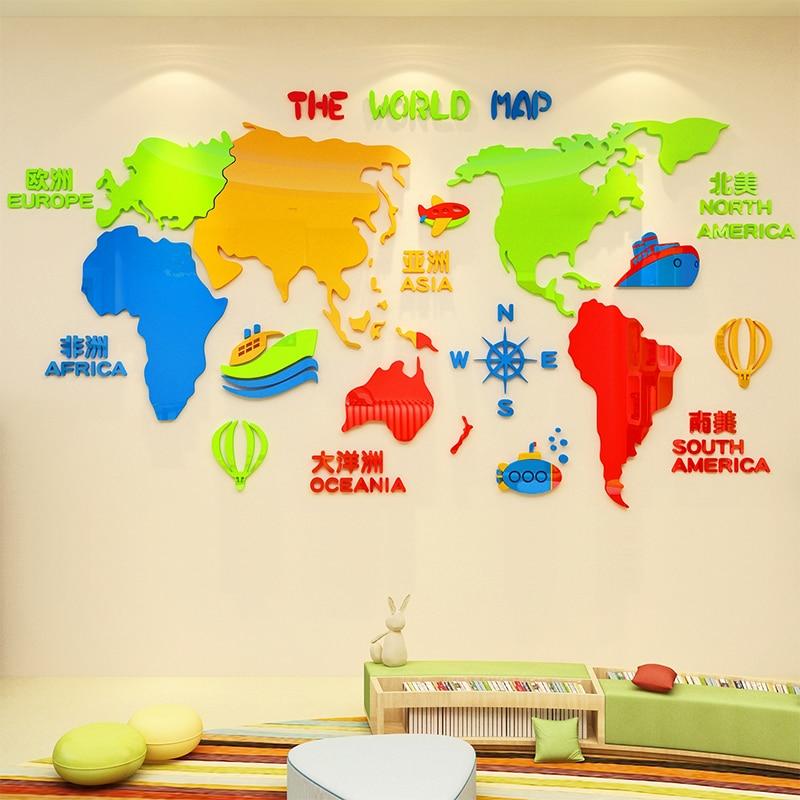 Creativo INS mapa del mundo DIY habitación de los niños dormitorio hogar sala de estar TV fondo de pared decoración 3D pegatinas de pared de acrílico - 2
