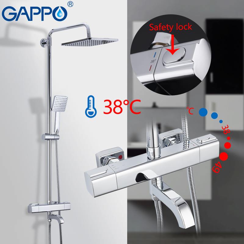 купить GAPPO Shower Faucet bathroom shower set wall mounted thermostatic bath shower waterfall shower heads Chrome Mixer water Taps по цене 9678.28 рублей