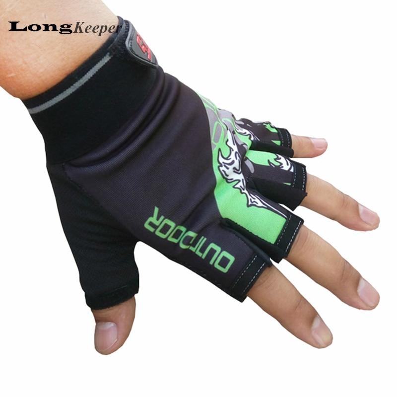 LongKeeper 2016 New Sports Gloves Gym Semi-finger Outdoor Mittens Fingerless Gloves Men Women Work Out Guantes G133