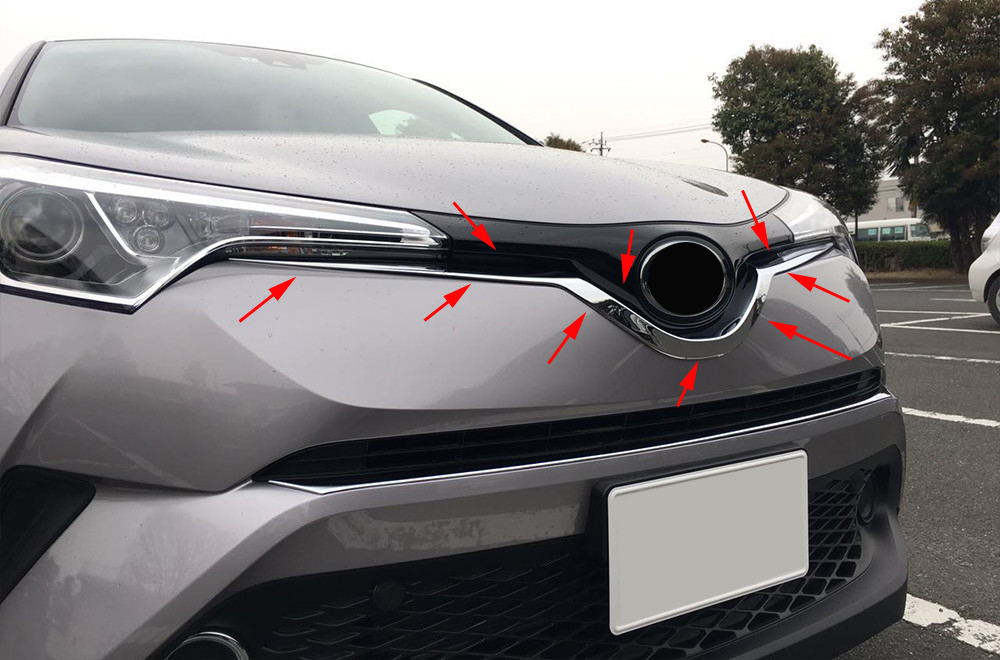 ABS chrome Auto Front Grille cover trim for Toyota C-HR CHR C HR 2016 2017 2018 Car Accessories Styling 1pcs car cover bumper engine abs chrome trim front grid grill grille frame edge moulding 1pcs for toyota c hr chr 2017 2018 2019