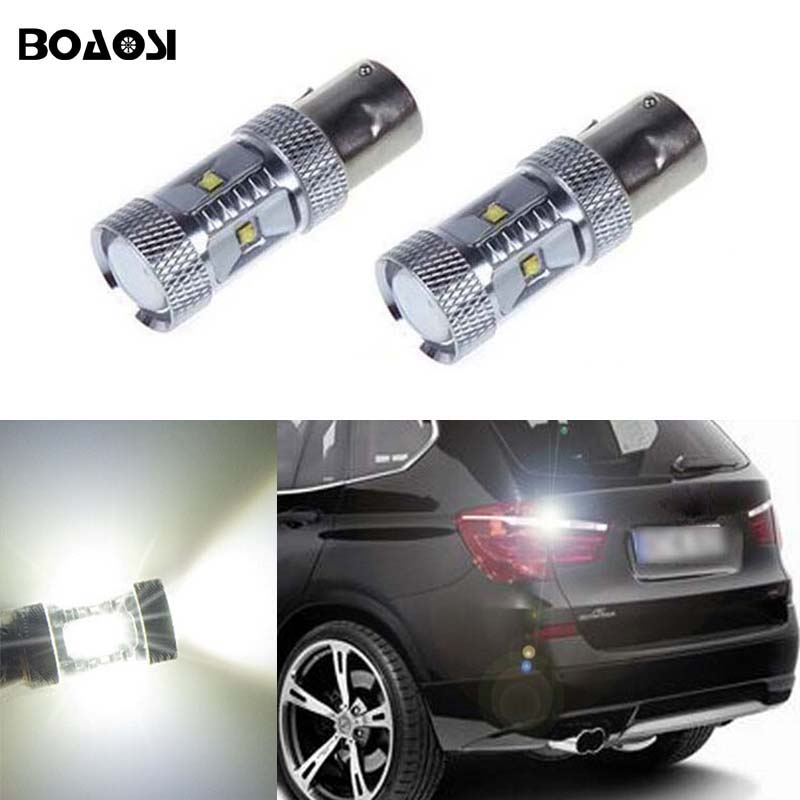 BOAOSI 2x 1156 P21W LED Rear Reversing Tail Light Bulb For BMW 3/5 SERIES E30 E36 E46 E34 X3 X5 E53 E70 Z3 Z4 epman universal black 3 76mm polished aluminum fmic intercooler piping kit diy pipe l 450mm for bmw e30 3 series ep lgtj76 450