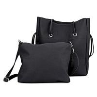Stylish 2pcs PU Leather Pure Color Multifunctional Strap Women Bucket Bag Bags Handbags Women Famous Brands