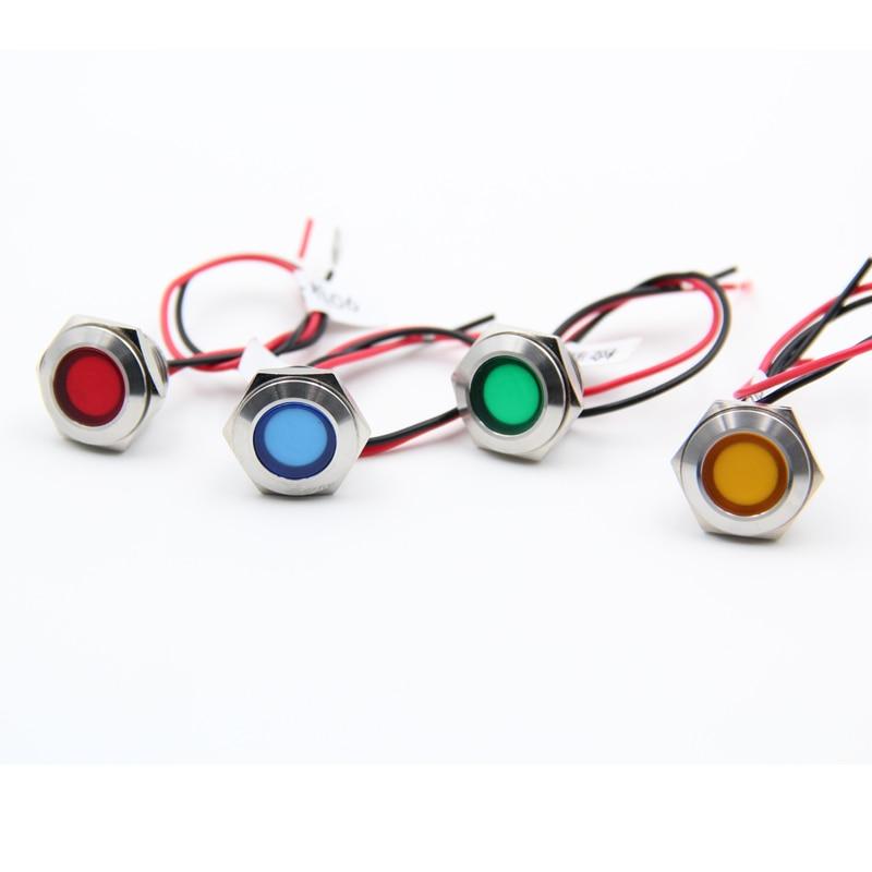 16mm sinal piloto lâmpada luz com fio de energia 6 v 12 v 24 v 220 v de metal à prova d' água led luz indicadora ym045