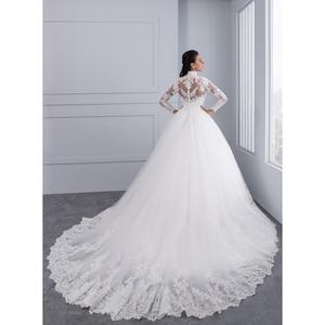 Image 5 - Miaoduo Vestido De Noiva 플러스 크기 높은 목 IIIusion 다시 긴 소매 웨딩 드레스 2020 공 가운 웨딩 드레스 여성을위한