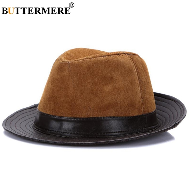 71414d651bc14a BUTTERMERE Fedoras 2019 Men Leather Trilby Hats Brown Btitish Vintage Jazz  Caps Male Patchwork Real Leather Gentleman Fedora Hat