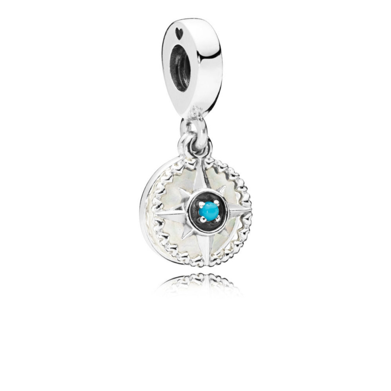 2018 New Real 925 Sterling Silver Compass Rose Hanging Charm Bead Fit pandora Bracelet Necklace pendant DIY Jewelry