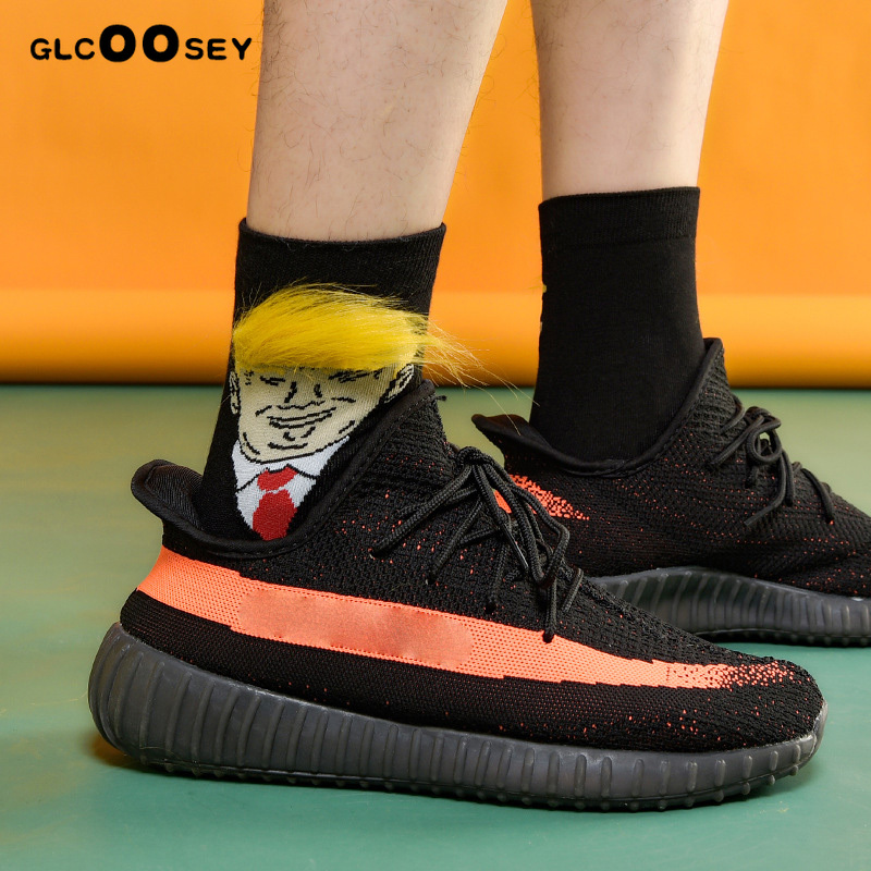 Trump Socks Yellow Fake Hair Trump Men Couple SocksIn The United States Has Become Web Celebrity Spoof Donald John Trump