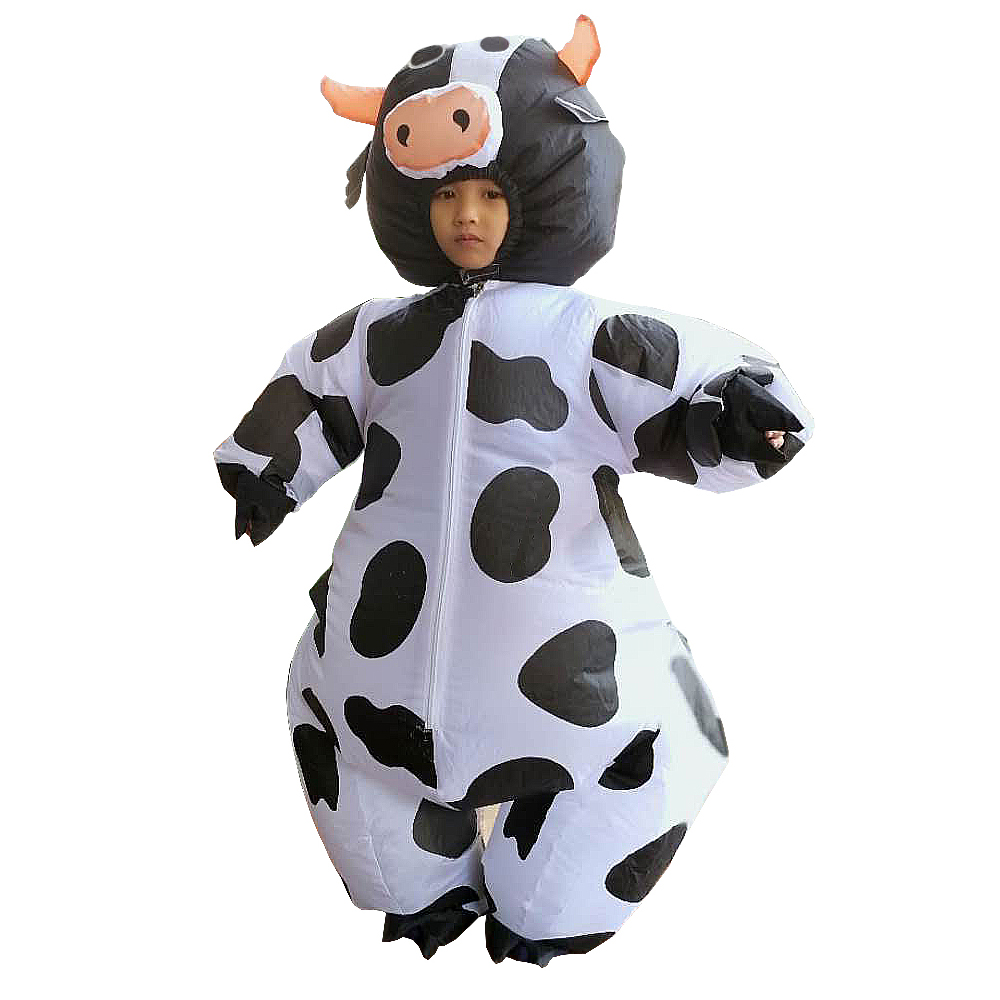 Inflatable Cow Farm Animal Dairy Cattle Funny Dress Up Womens Mens Costume
