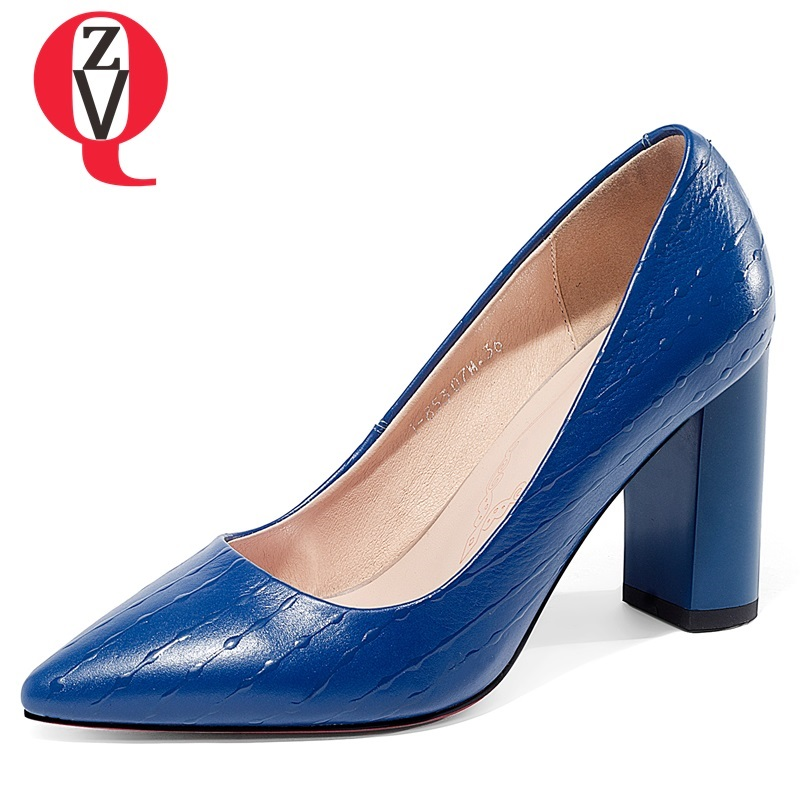 ZVQ fashion Brand handmade genuine leather office women shoes slip on outside sexy pink and blue High heel lady Shallow pumps